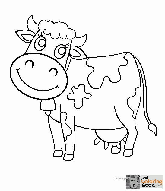 Cow Coloring Pages Regarding Cute Cartoon Cow Coloring Pages Cow
