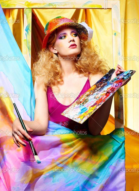 Woman artist painting by zastavkin -