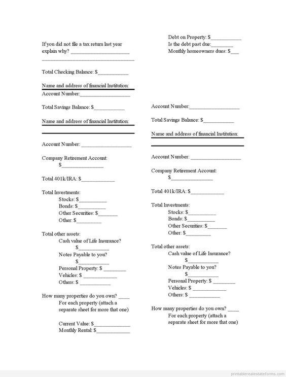 Printable Sample financial statement Form Coupons 2015 - Canda - personal financial statement forms