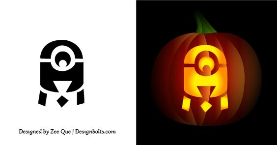 It is a picture of Witty Minion Pumpkin Stencil Printable