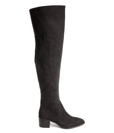 H&ampM Black Low Heel Suede Leather Over-Knee Thigh-High Tall Boots