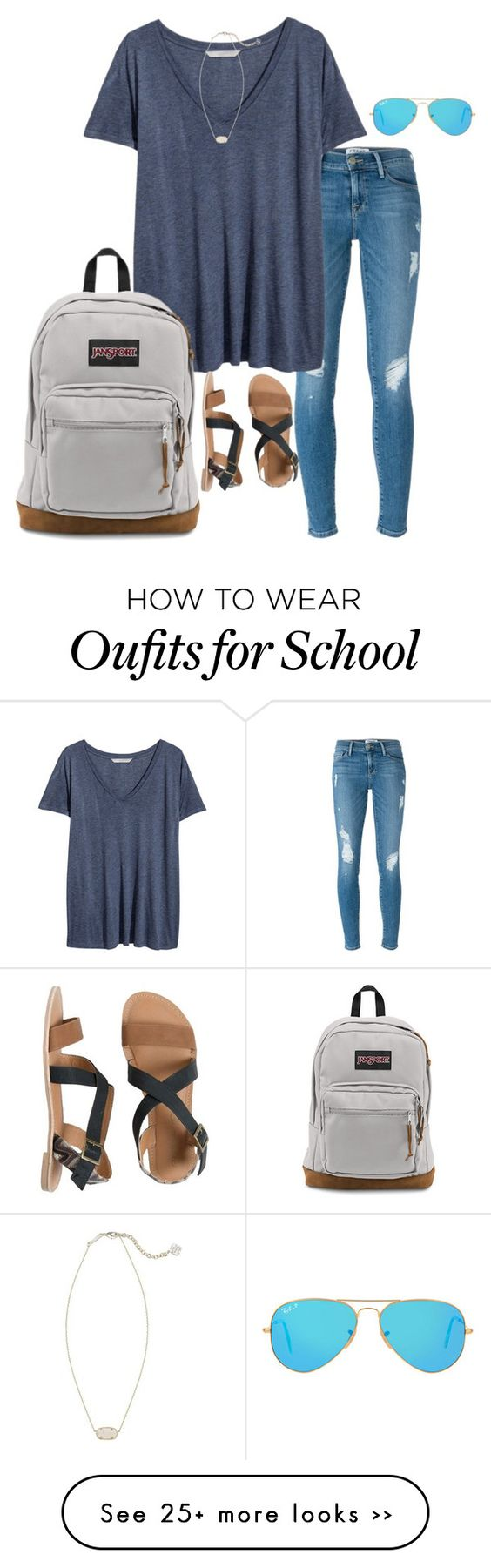 """""""school day:("""" by preppiness1 on Polyvore featuring Frame Denim, H&M, JanSport, Ray-Ban, IPANEMA and Kendra Scott"""