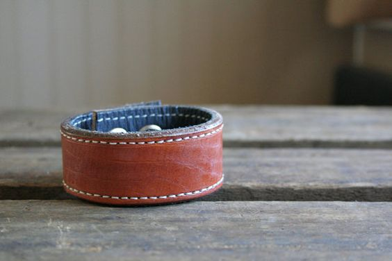brown leather cuff with stitching ... CUSTOMIZED