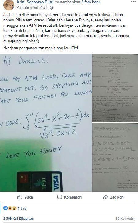 Postingan Arini Soesatyo Putri/Facebook