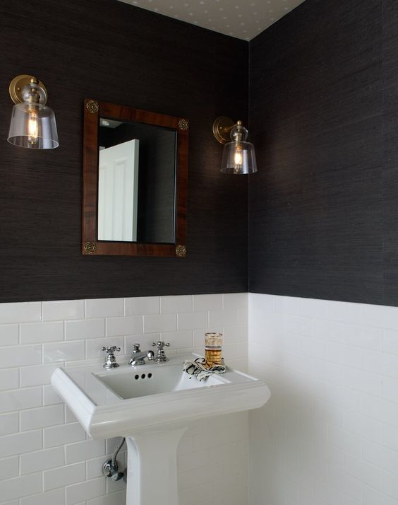 Dramatic black wallcvering in a classic style bathroom with white subway tile. Jo Malone London Body & Hand Wash (In case you need it!)