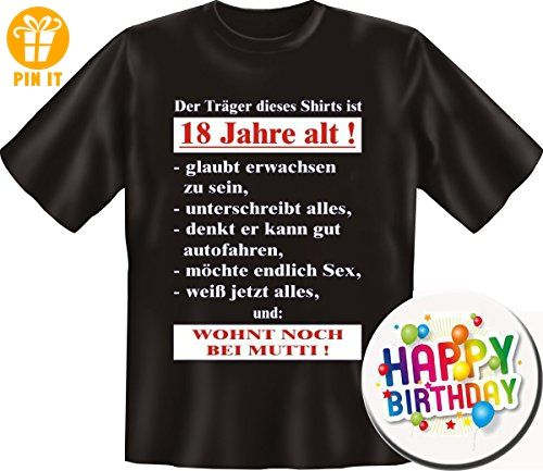 Set Shirt + Button zum 18. Geburtstag: DER TRÄGER DIESES SHIRTS IST 18, SCHWARZ XL + Button Happy Birthday - T-Shirts mit Spruch | Lustige und coole T-Shirts | Funny T-Shirts (*Partner-Link)