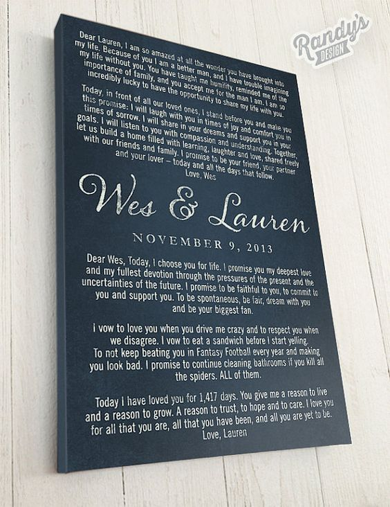 Personalised Wedding Vow Gifts : , Wedding or Anniversary Gift, Custom Canvas Art, Wedding Vows ...