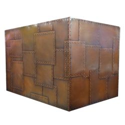 riveted patchwork custom copper range hood by Texas Lightsmith Model #11