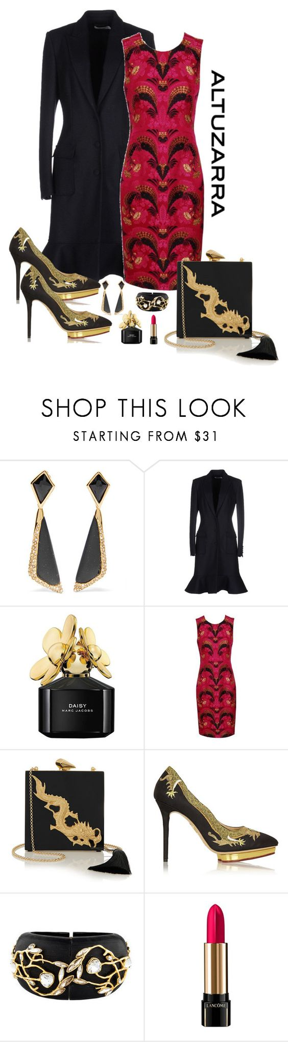 """Altuzarra Ruffled Coat Evening Look"" by romaboots-1 ❤ liked on Polyvore featuring Alexis Bittar, Altuzarra, Marc Jacobs, Alexander McQueen, KOTUR, Charlotte Olympia and Lancôme"