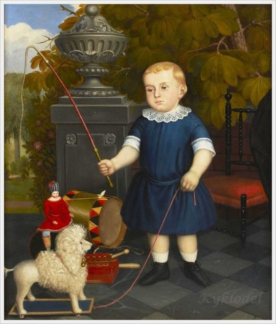 German School, 19th Century «A portrait of a young boy and his toy dog»