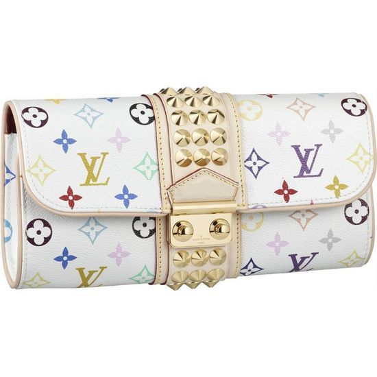 LOUIS VUITTON MONOGRAM MULTICOLORE COURTNEY CLUTCH M45639 -Large studded natural cowhide leather band -A zipped pocket with fittings for 6 credit cards -A golden brass lock -Practical interior layout -Carried in the hand -Monogram Multicolore is a creation of Takashi Murakami for Louis Vuitton