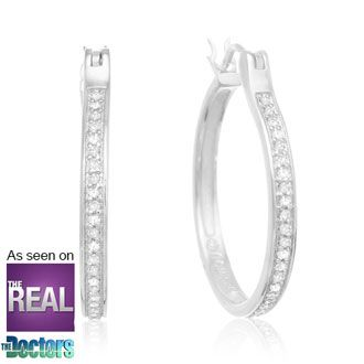 Can't beat the prices of jewelry at SuperJeweler! (oh, and free shipping) 1/4ct Diamond Hoop Earrings in Sterling Silver