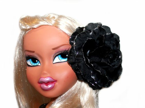 Large Black Rose with Silver Glitter Edges by MissSweetCheekz, $9.00