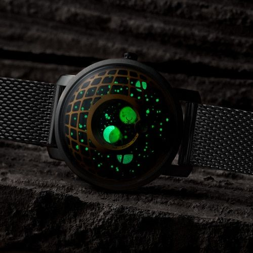 Xeric Trappist 1 Moonphase Brass Green Mesh Watches Com