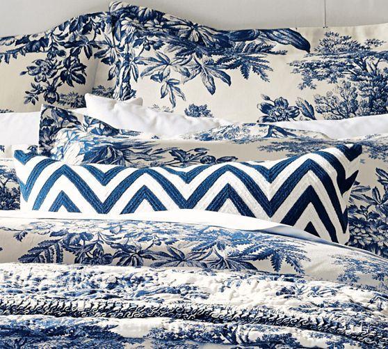 Matine Toile Duvet Cover Sham Twilight Blue Pottery Barn - Blue and white toile duvet cover