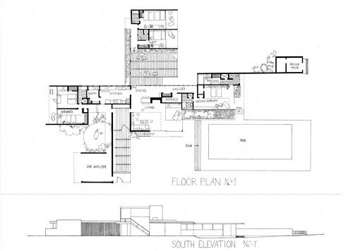 kaufmann house plan google search design pinterest On kaufmann desert house floor plan