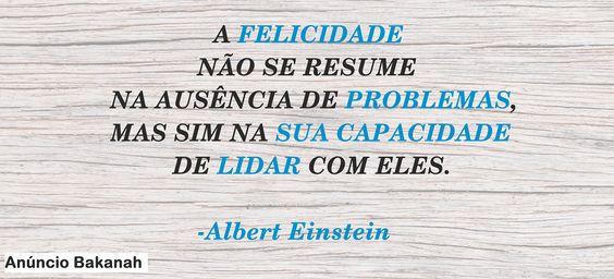 A felicidade não se resume na ausência de problemas, mas sim na sua capacidade de lidar com eles.   -Albert Einstein.