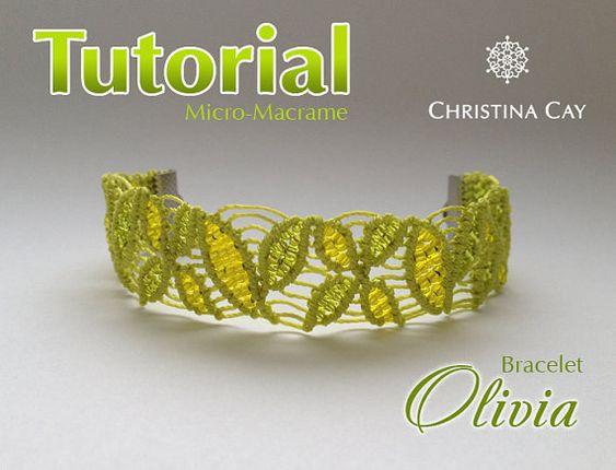 TUTORIAL PDF Micro-Macrame pulsera macrame patrón por ChristinaCay