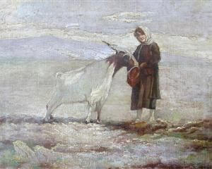 The girl and the goat - Polychronis Lembesis