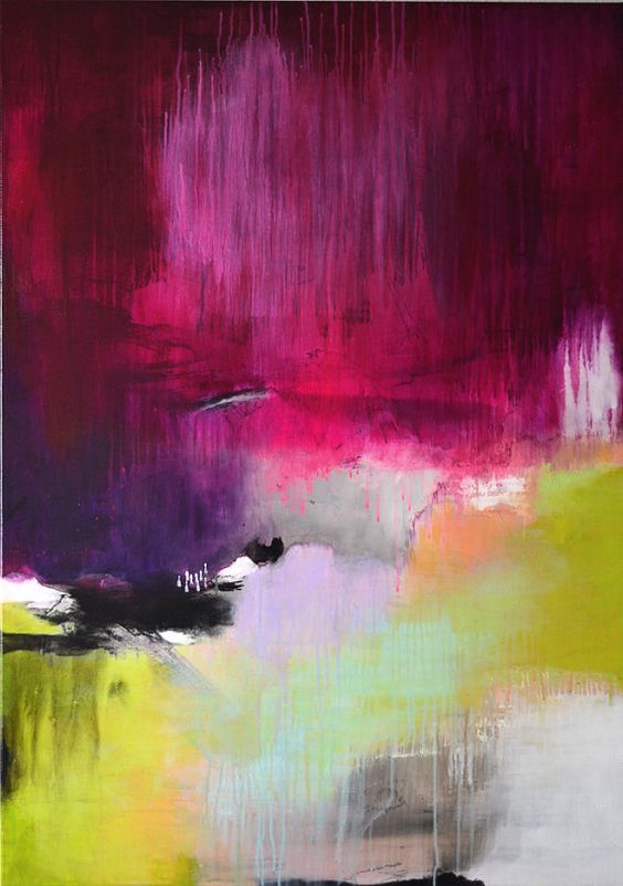 Original extra large abstract painting bold colors by ARTbyKirsten