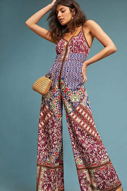 I really want this jumpsuit!! Bhanuni by Jyoti Blythe Printed Jumpsuit Traditional art meets avant-garde in designer Jyoti Sharma's line of heirloom-inspired pieces. Blending contemporary trends with conventional silhouettes, fashion/style/shopping/affiliate