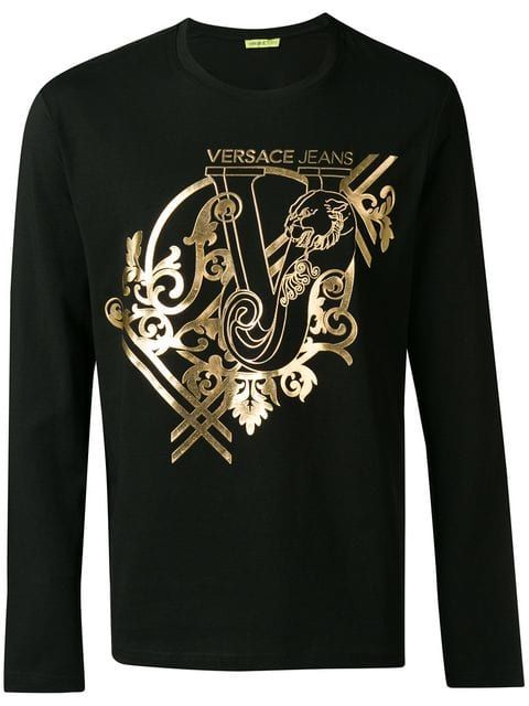 Versace Jeans Couture Baroque Print T Shirt Farfetch Versace Jeans Mens Fashion Jeans Graphic Tee Outfits