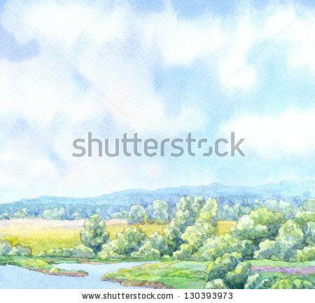 Watercolor landscape background. Sunny summer day on the river in a lush green valley