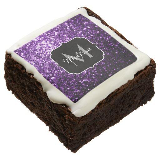 Beautiful Purple glitter sparkles Monogram Chocolate Covered Oreo by #PLdesign #PurpleSparkles #SparklesGift