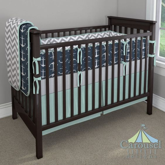 Crib bedding in White and Gray Zig Zag, Navy Anchors, Solid Seafoam Aqua, Silver Gray Minky. Created using the Nursery Designer® by Carousel Designs where you mix and match from hundreds of fabrics to create your own unique baby bedding. #carouseldesigns