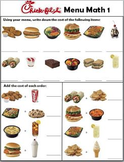 Printables Menu Math Worksheets free this 3 page menu can be used to create math chickfila worksheets
