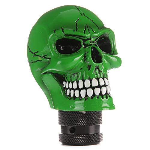 Arenbel New Universal Manual and Automatic Car Gear Stick Shifter Knob Green Skull Shift Lever Fit Most Cars