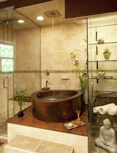 Salle De Bain Bathroom Douche Shower Italienne Beige Pierre Carrelage Zen Maison