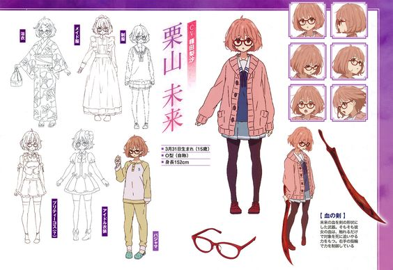 Character Design Magazine : Character designs for kyoukai no kanata featured in