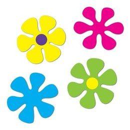 Decoratie Retro Flower cutout -  Een set met 4 decoraties van verschillende kleuren bloemen in retro stijl. Leuke decoratie voor tropische zomerfeesten. Afmeting: 30cm.