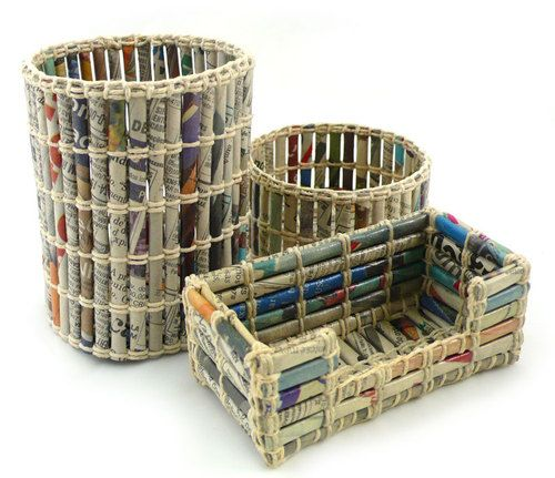Recycle Your Newspaper To Make Office Organizers And Paper Bins