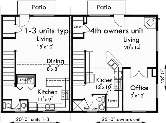 4 plex plans fourplex with owners unit quadplex plans f for Fourplex plans with garage