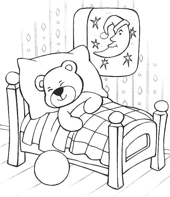 Sleep Coloring Pages Sleeping Teddy Bear Coloring Pages Sleepover