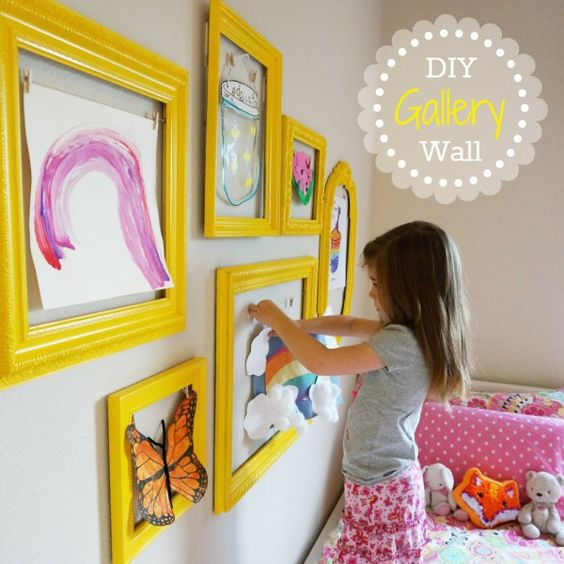 Create an art gallery wall to display your kid's artwork.  Fun for both parents and kids.: