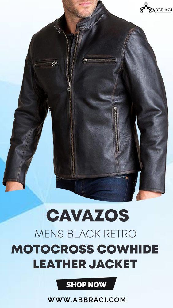 Cavazos Mens Black Retro Motocross Cowhide Leather Jacket Leather Jacket Leather Jackets Women Leather Jacket Shopping