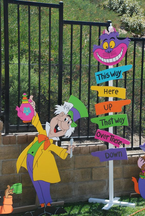 Mad hatters direction signs and party props on pinterest for Mad hatter party props