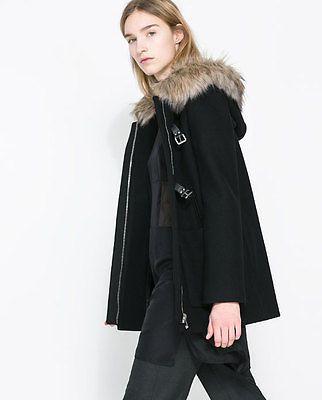 Black Duffle Coat With Hood