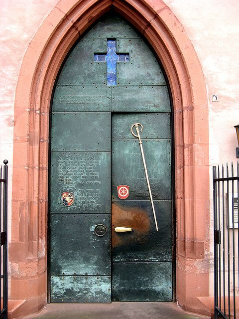 The armoured main entrance of the Church of St Stephan in Mainz, Germany.