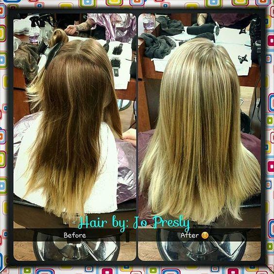 #beforeandafter #blondehair #highlights #flashlift #redken #weavehighlights #foils #milaninstitute #MIfresno #cosmostudent #iloveit #hairartist #fresnostylist #hairbyjopresly hope you like it sara 😊😄