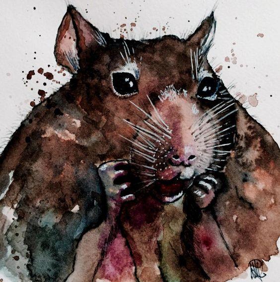 kleiner Nager -  Kunst - Original - fine art von *zeitgenössische kunst von maria-mercedes* auf DaWanda.com