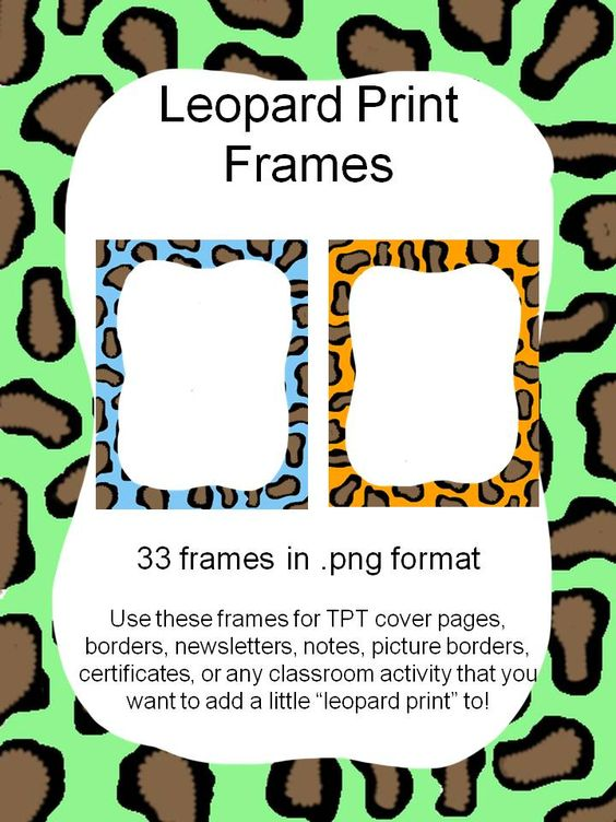 Frames and Borders Clipart - Leopard Prints | Leopard Prints, Leopards ...