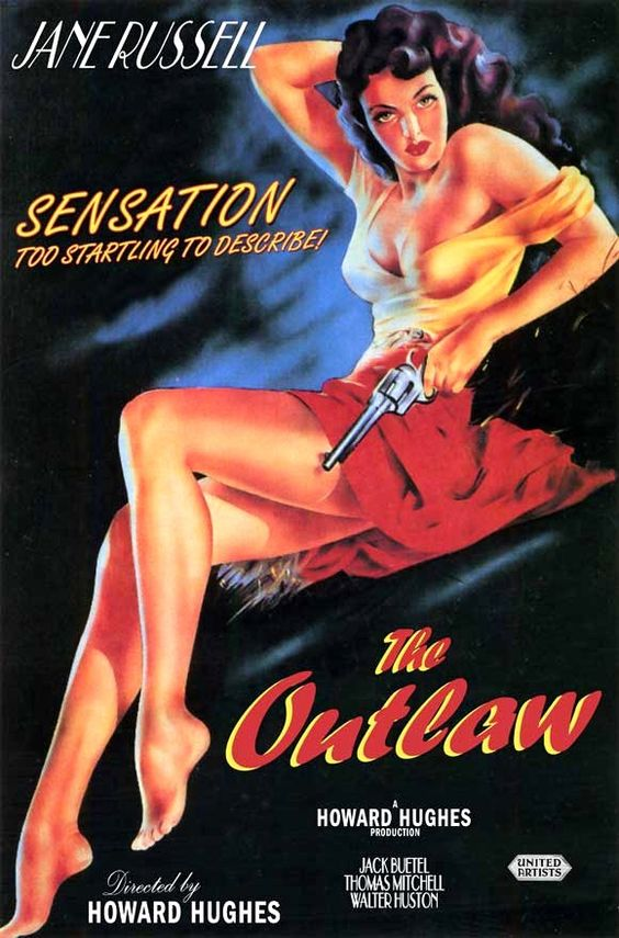 The Outlaw is a 1943 American Western film, directed by Howard Hughes and starring Jane Russell. The supporting cast includes Jack Buetel, Thomas Mitchell, and Walter Huston. Hughes also produced the film, while Howard Hawks served as an uncredited co-director. The film is notable as Russell's breakthrough role, turning the young actress into a sex symbol and a Hollywood icon.