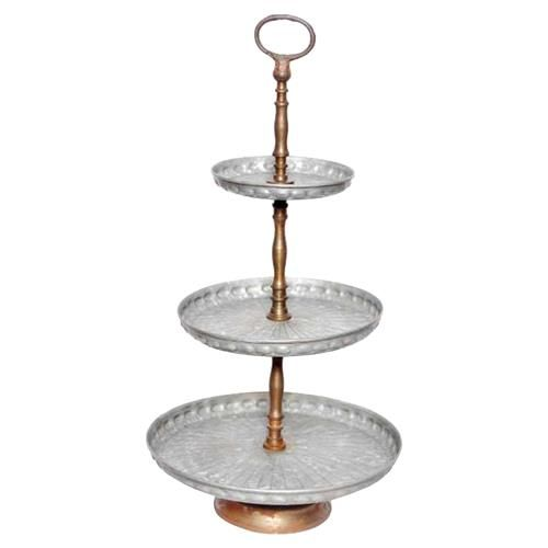 Lenora French Country Round Galvanized 3 Tier Metal Tray In 2020 Tiered Stand Metal Trays Candle Stand