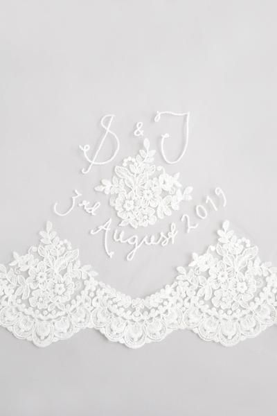 Add Personalised Embroidery to your Veil | Britten Weddings