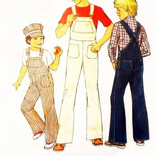 Toddler Boys Overalls w Engineer Cap 1970s Pattern sz 3-4 Train Hat | sewinghappyplace - Supplies on ArtFire