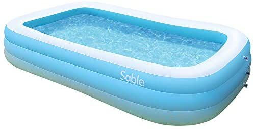 Sable Paddling Pool Rectangular Family Swimming Ball Inflatables For Kids And Adults Indoor Outdoor In 2020 Inflatable Swimming Pool Rectangular Pool Family Swimming